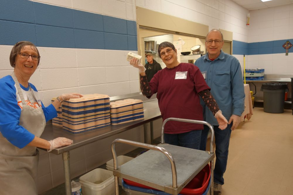 Loaves and Fishes volunteers Bonnie Westcott and Brenda Otterson and John Whittier 1.30.19