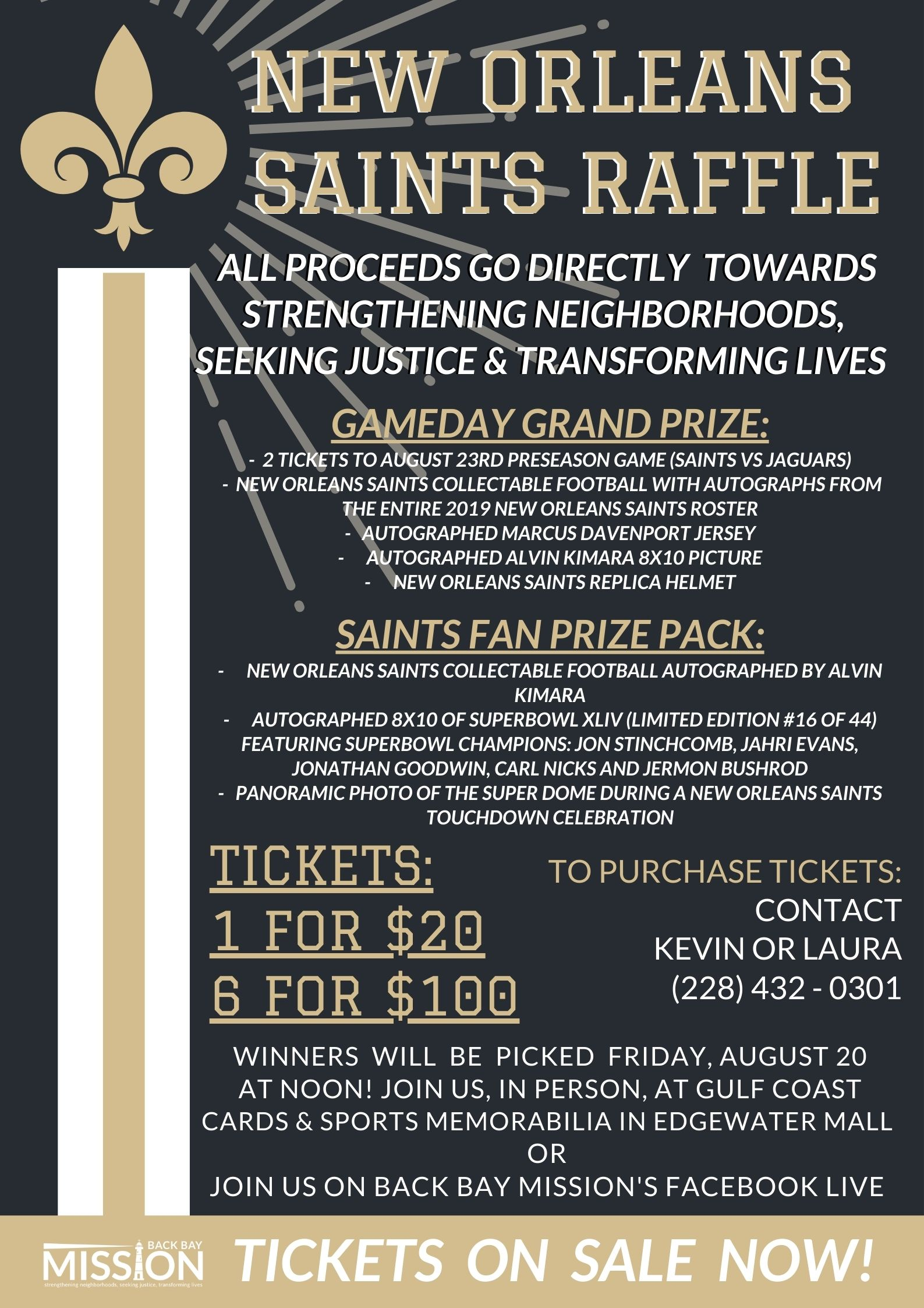 Tickets are ON SALE NOW for our New Orleans Saints Raffle!